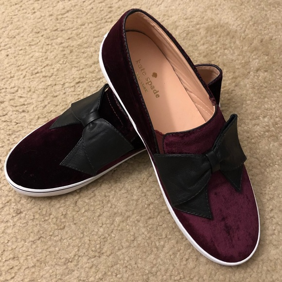 0a5423081ac7 Kate Spade Burgundy Velvet Flat Slip On Shoes 8 kate spade New